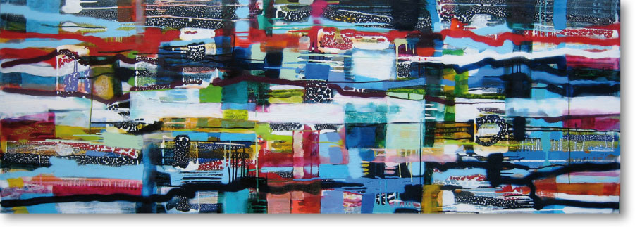 Clearwater XV, 2011, mixed media/canvas, 70cm x 200cm